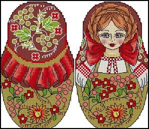 Вышивка крестом русская матрешка схема